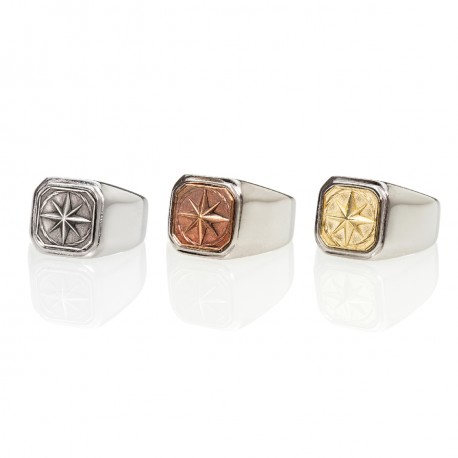Compass Square Signet Ring