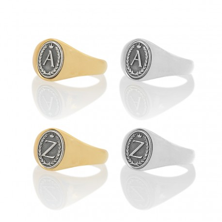 Alphabet Oval Signet Ring