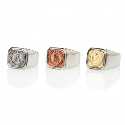 Alphabet Square Signet Ring
