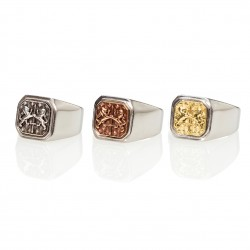 Double Lion Square Signet Ring